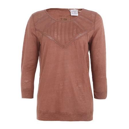 LaRedoute 女式 镂花 切割 长袖 亚麻T恤 VP389