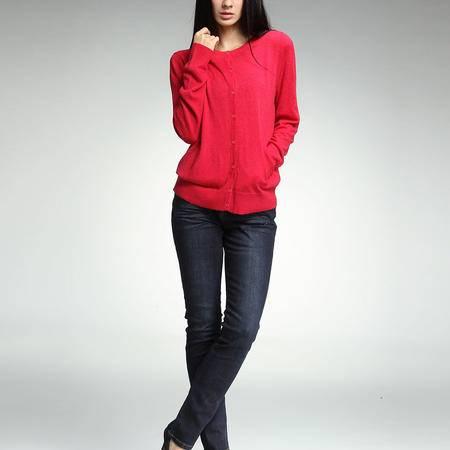 女式 纯色 百搭 羊毛混纺 针织开衫 YU522