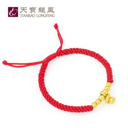 天宝龙凤 足金黄金六星送子宝宝红绳手链