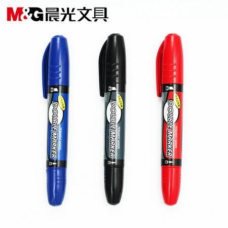 晨光文具 记号笔 MG2110双头油性笔 光盘笔 大头笔 勾线笔 物流笔12支/盒
