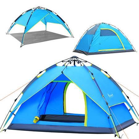 徽羚羊户外3-4人液压全自动帐篷 双人双层防雨三用露营野营帐篷