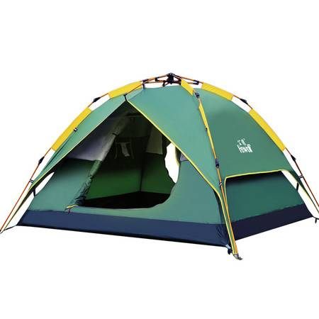 公狼帐篷自动速开多功能户外帐篷防雨野外露营帐篷3-4人沙滩野营(1768嘿客7号 )