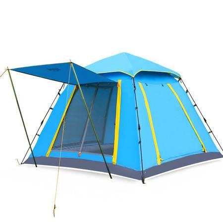公狼户外露营全自动帐篷 方形大空间多人休闲露营3-4人野营帐篷(双层帐篷)