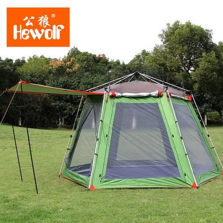 公狼户外3-4人野营帐篷 户外5-8人多人露营装备 沙滩防雨防晒帐篷