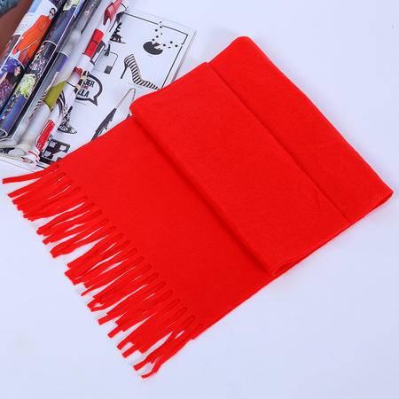 老人驼绒保暖红围巾