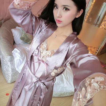 竟丰JING FENG 春夏新款韩版两件套吊带网花蝴蝶结女士睡裙