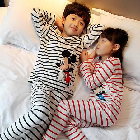 竟丰JINGFENG 夏季新款儿童家居服纯棉长袖条纹米奇儿童套装