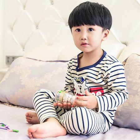 竟丰JINGFENG 夏季新款儿童家居服纯棉长袖条纹小猫儿童套装