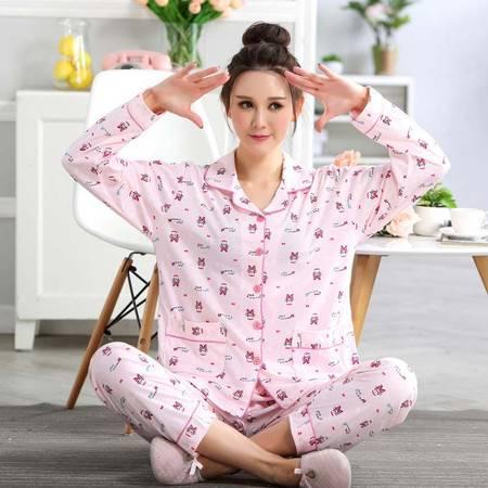 竟丰JINGFENG 夏季新款韩版女士翻领前长袖长裤睡衣家居服套装