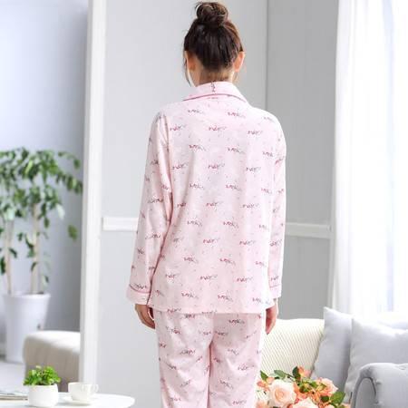 竟丰JING FENG 夏季新款韩版长袖长裤翻领口袋前女士睡衣家居服套装