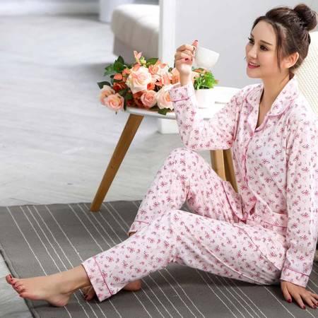 竟丰JING FENG 夏季新款韩版条裤长袖翻领前扣女士睡衣家居服套装