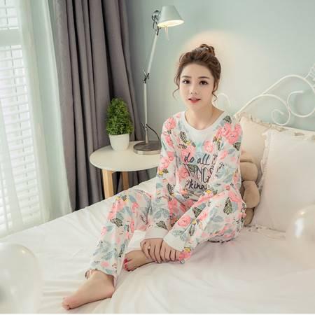 竟丰JINGFENG 秋季新款韩版纯棉圆领套头长袖长裤女士睡衣家居服套装