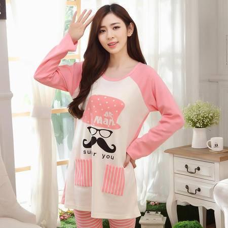 竟丰JINGFENG 秋季新款韩版圆领套头长袖长裤女士睡衣家居服套装