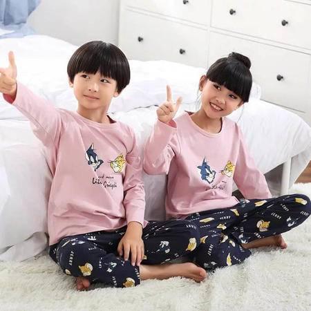 竟丰JING FENG 秋冬新款韩版纯棉圆领套头猫和老鼠长袖长裤儿童睡衣家居服套装