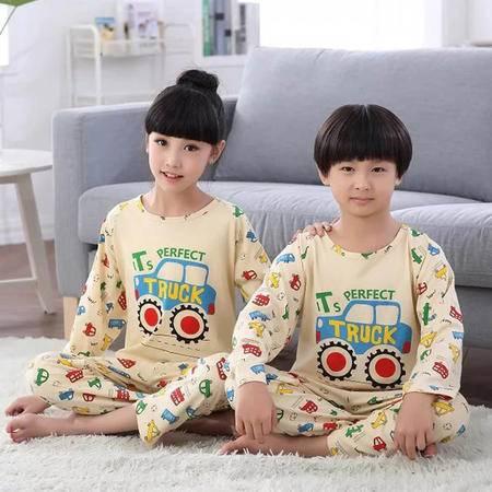 竟丰JING FENG 秋冬新款韩版纯棉圆领套头卡通汽车长袖长裤儿童睡衣家居服套装