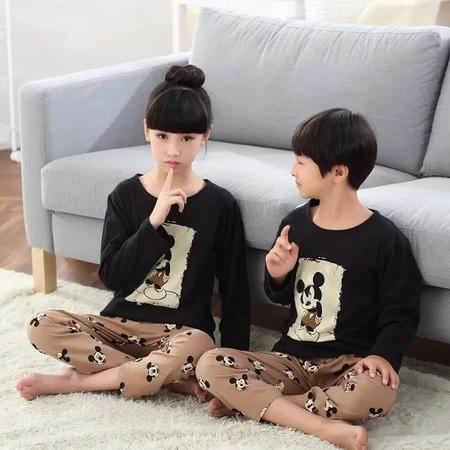 竟丰JING FENG 秋冬新款韩版纯棉圆领套头米奇长袖长裤儿童睡衣家居服套装