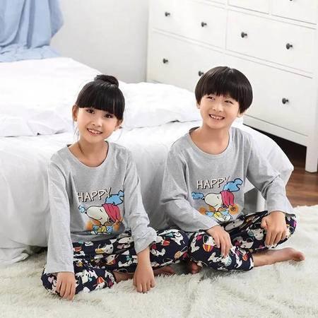 竟丰JING FENG 秋冬新款韩版纯棉圆领套头卡通长袖长裤儿童睡衣家居服套装