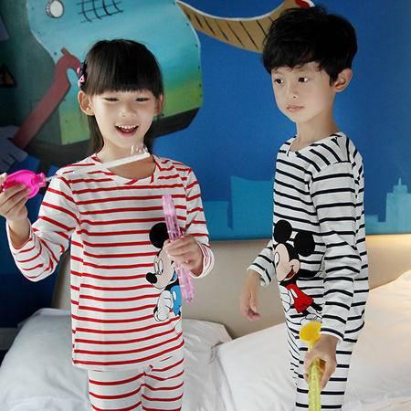 竟丰 秋冬新款韩版儿童睡衣纯棉圆领套头长袖长裤家居服套装