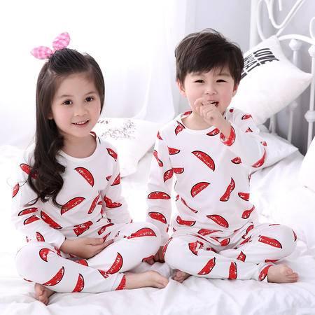竟丰 秋冬新款韩版儿童睡衣纯棉西瓜圆领套头长袖长裤家居服男女童套装