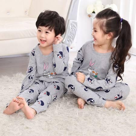 竟丰 秋冬新款韩版儿童睡衣纯棉卡通兔八哥圆领套头长袖长裤家居服男女童套装