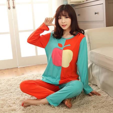 竟丰 秋冬新款韩版女士睡衣卡通苹果长袖长裤家居服套装