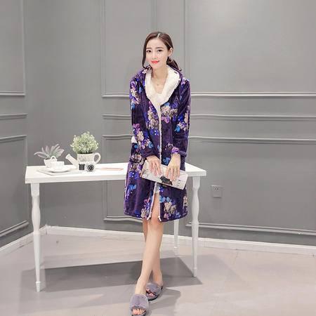 竟丰 秋冬新款韩版女士睡衣法兰绒碎花女士睡袍保暖家居服套装