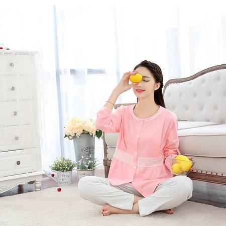 竟丰 秋冬新款韩版女士睡衣蕾丝边月子服女士保暖家居服套装