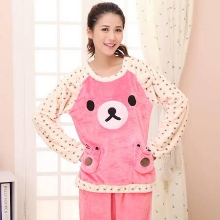 竟丰 秋冬新款韩版女士睡衣法兰绒粉色饼干熊女士长袖长裤保暖家居服套装
