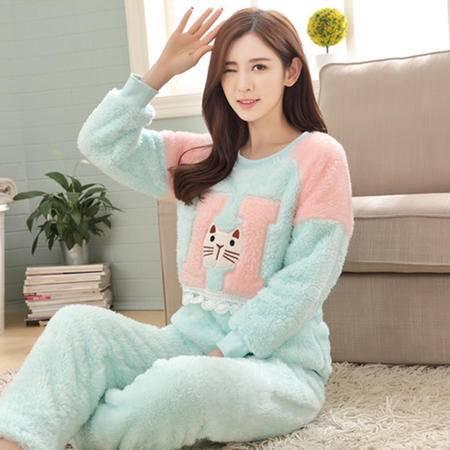 竟丰 秋冬新款韩版女士睡衣法兰绒H字母套头长袖长裤保暖家居服套装