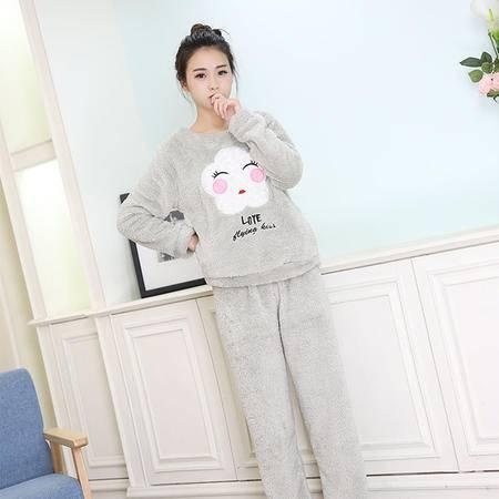 竟丰 秋冬新款韩版女士睡衣法兰绒灰色笑脸保暖家居服套装