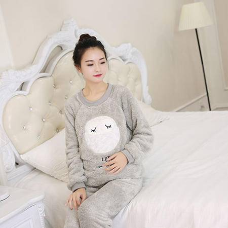 竟丰 秋冬新款韩版女士睡衣法兰绒灰色猫头鹰保暖家居服套装