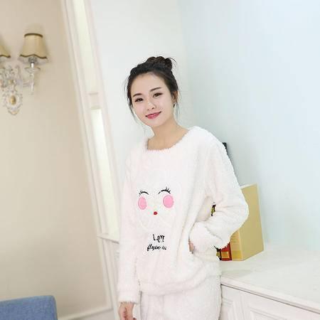 竟丰 秋冬新款韩版女士睡衣法兰绒笑脸白色保暖家居服套装