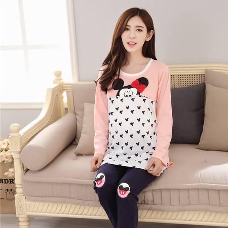 竟丰 秋冬新款韩版女士睡衣针织米老鼠长袖长裤保暖家居服套装