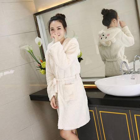 竟丰 秋冬新款韩版女士睡衣法兰绒连帽羊羔米白色保暖家居服套装