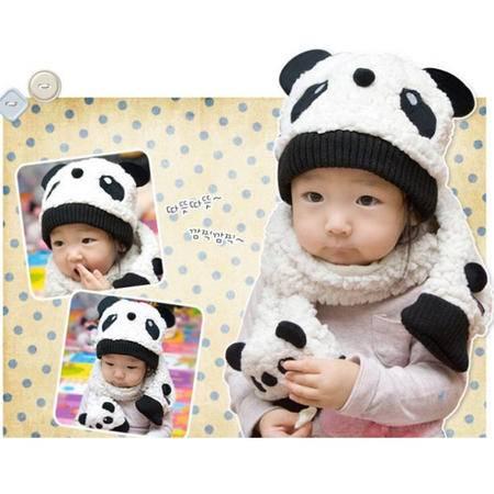 冬款熊猫套头帽/立体熊猫围巾两件套