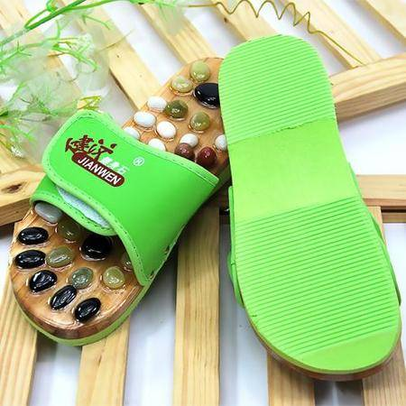 健汶保健鹅卵石按摩拖鞋/保健足疗鞋-绿色