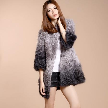 2016新款皮草中长款羊羔毛外套时尚反季女款女装