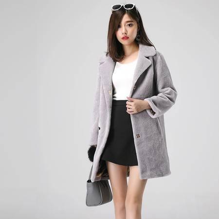 特诺依 2016年新款羊毛羊剪绒中长款大衣皮草外套女1159