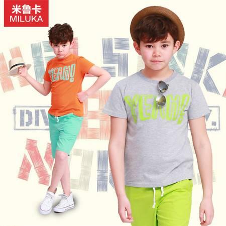童装男童套装夏装短袖中大儿童T恤梭织中裤2件套2015新款休闲纯棉