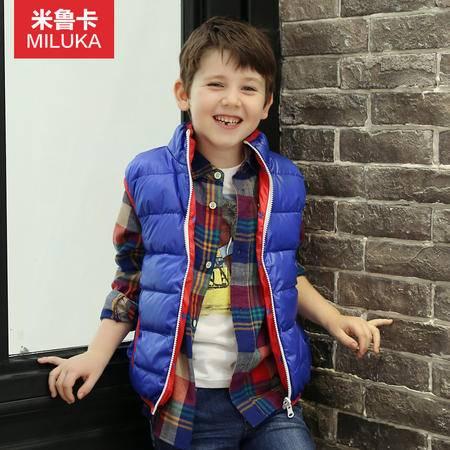 童装2015冬装男童羽绒马甲双面穿保暖鸭绒儿童保暖羽绒背心韩版潮