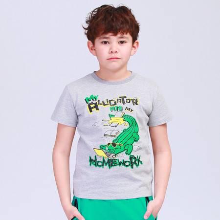 米鲁卡童装2015夏装新款男童短袖T恤韩版圆领儿童T恤纯棉卡通潮