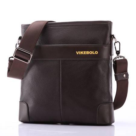 【河北电商】VIKEBOLO商务男包公文包真皮包男式单肩包 男士斜挎包竖款 男款包包  牛皮