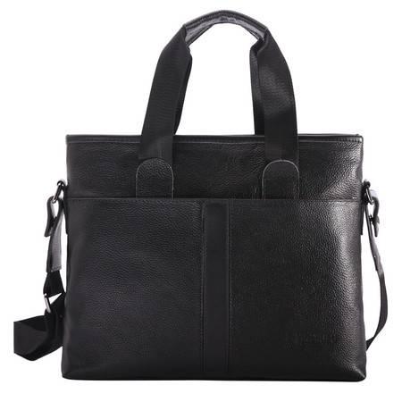【河北电商】VIKEBOLO新款男士手提包真皮包商务包包男式公文包单肩包男包斜跨包电脑包
