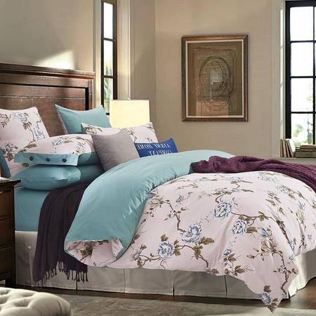 VIPLIFE全棉四件套纯棉床单被套200*230CM/1.5-1.8米床用 高支密全棉斜纹活性印花