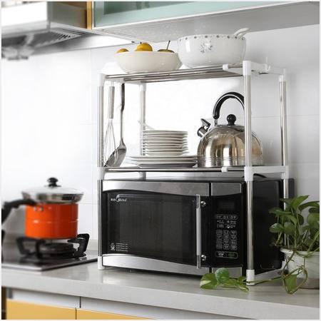 慢悠品收纳架日用置物架厨房收纳用品 创意微波炉置物架微多功能不锈钢创意厨房收纳架