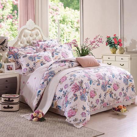 viplife纯棉套件床上四件套全棉厚床上用品条纹田园秋冬加厚被套