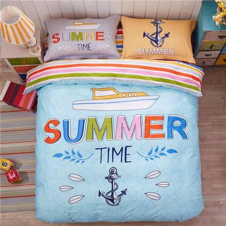 VIPLIFE纯棉四件套 全棉床单被套简约4件套专柜正品包邮
