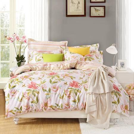 VIPLIFE轻熟女优雅系列全棉斜纹印花四件套-爱在花开