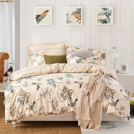 VIPLIFE轻熟女优雅系列全棉斜纹印花四件套-橄榄枝