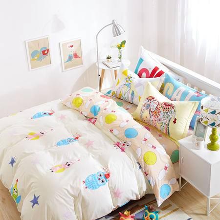 VIPLIFE精梳全棉四件套活性印花纯棉床单被套